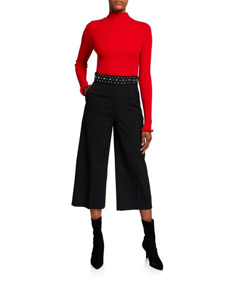 REDValentino Stretch-Wool Stud-Waist Wide-Leg Crop Pants
