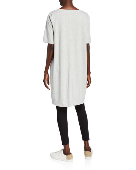 Eileen Fisher Plus Size Speckle Knit Short-Sleeve Dress