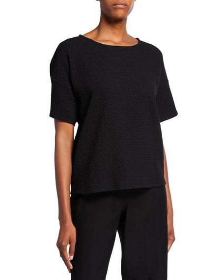 Eileen Fisher Petite Chevron Elbow-Sleeve Sweater