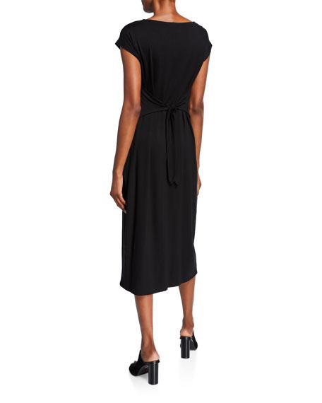 Eileen Fisher Petite Cap-Sleeve Tie Front/Back Midi Jersey Dress