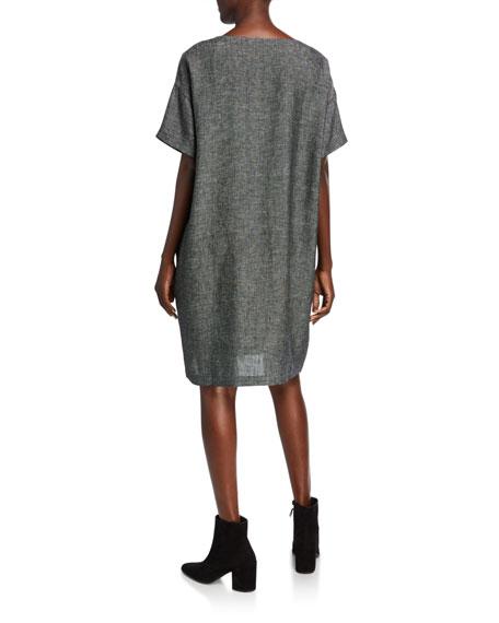 Eileen Fisher Organic Linen Elbow-Sleeve Tweed Dress
