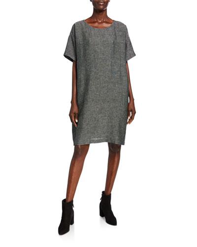 Organic Linen Elbow-Sleeve Tweed Dress