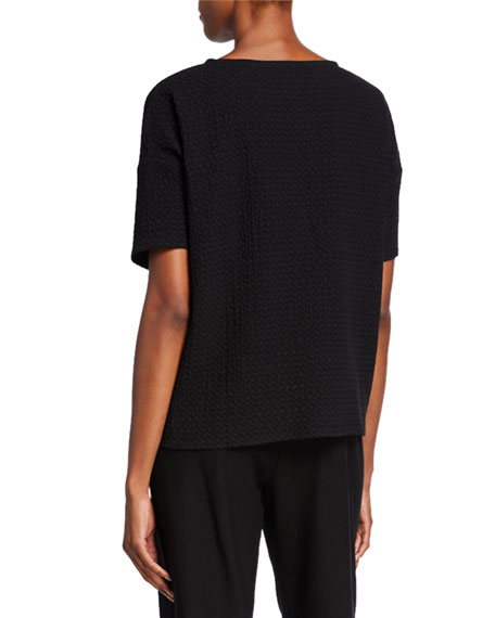 Eileen Fisher Chevron Elbow-Sleeve Sweater