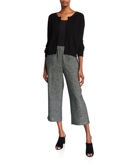 Eileen Fisher Petite Organic Linen Tweed Straight-Leg Crop Pants