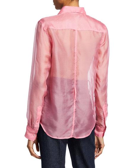Helmut Lang Button-Down Long-Sleeve Silk Organza Shirt