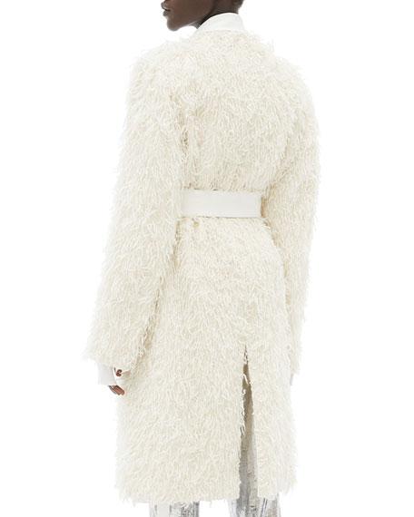 Helmut Lang Wool Fringed Open-Front  Coat
