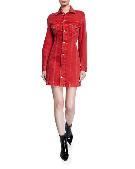 Image 1 of 2: Helmut Lang Femme Denim Trucker Dress