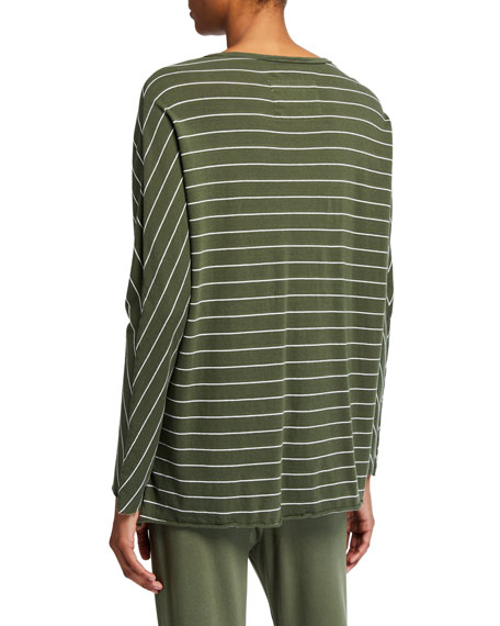 Image 2 of 2: Striped Deep V-Neck Long-Sleeve Cotton Tee