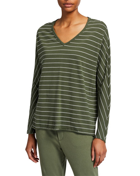 Image 1 of 2: Striped Deep V-Neck Long-Sleeve Cotton Tee