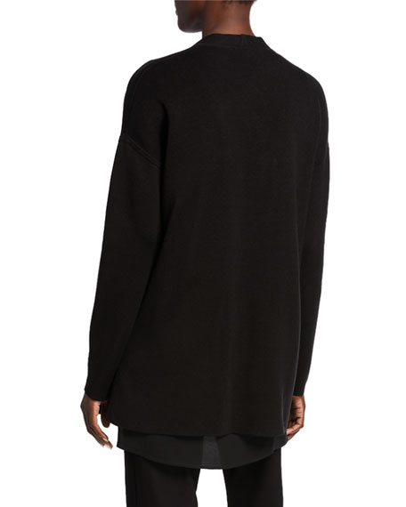 Eileen Fisher Silk/Organic Cotton Piped Cascade Front Cardigan