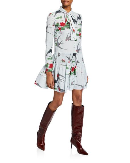 REDValentino Swallows & Waterlilies Tie-Neck Long-Sleeve Dress