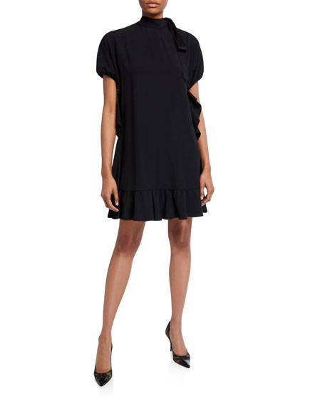 REDValentino Mock-Neck Short-Sleeve Dress with Ruffles