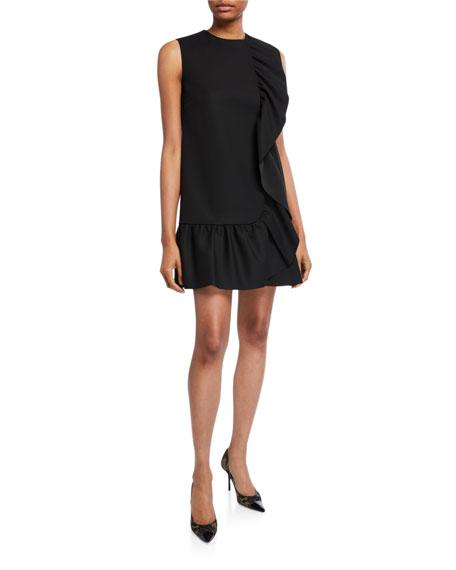 REDValentino Sleeveless Tricotine Tech Dress with Pleated Ruffle Trim