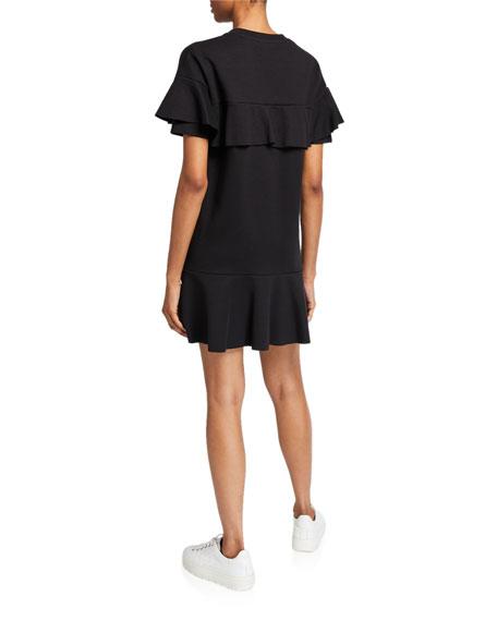 REDValentino Ruffle-Sleeve Sweatshirt Dress