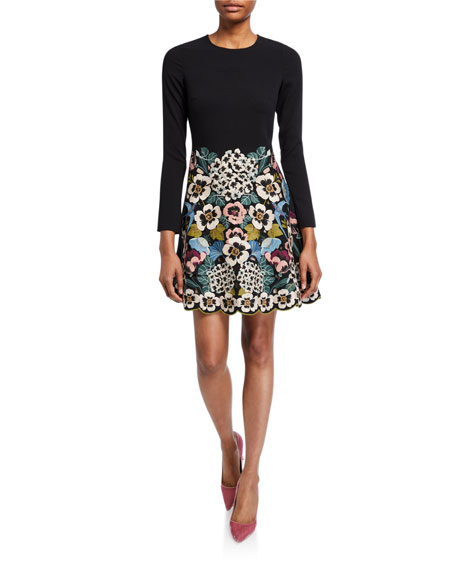 REDValentino Floral Vines Embroidered Long-Sleeve Short Dress