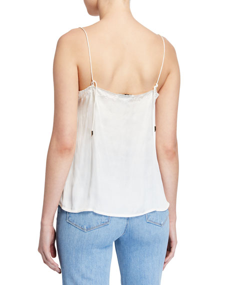 PAIGE Cicely Satin Camisole w/ Scalloped Trim