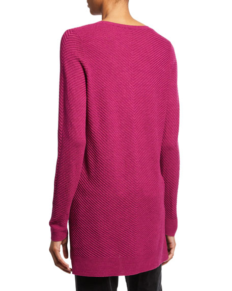 Petite Textured Wool Crepe V-Neck Sweater