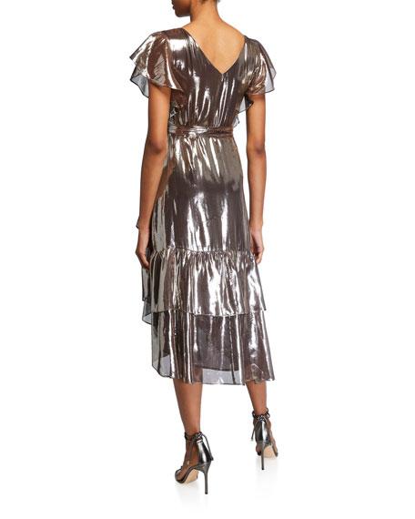 Tanya Taylor Dita Metallic Ruffle Wrap Dress