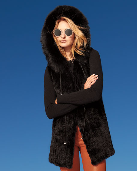 Belle Fare Long Knit Mink Fur Vest w/ Fox Fur-Trim Hood