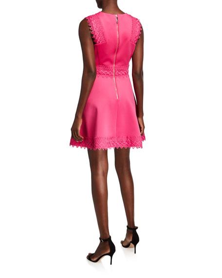 Ted Baker London V-Neck Sleeveless Lace Tiered Skater Dress