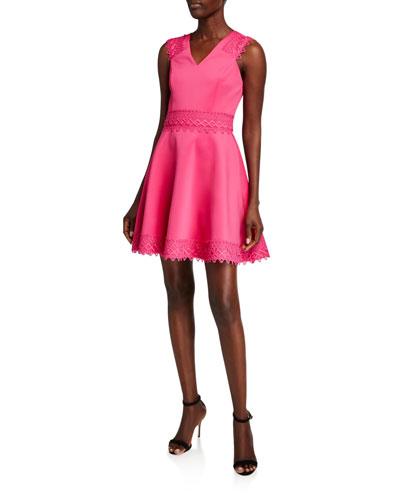 V-Neck Sleeveless Lace Tiered Skater Dress