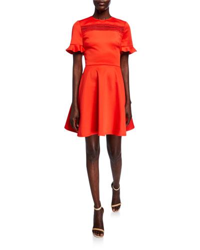 Lace Insert Ruffle-Sleeve Skater Dress