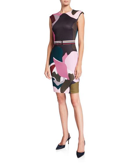 Ted Baker London Strawberry Swirl Cap-Sleeve Bodycon Dress