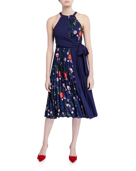 Ted Baker London Hedgerow Floral Pleated Halter Dress