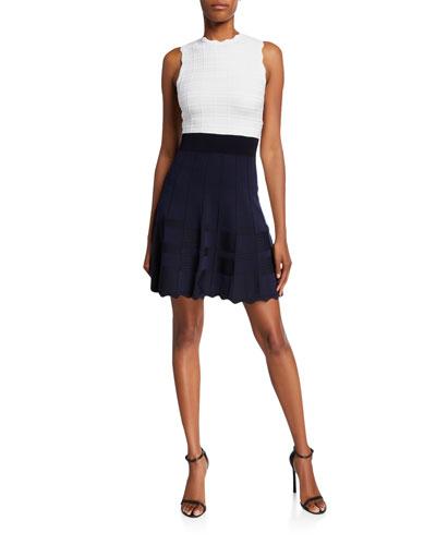 Colorblock Sleeveless Scallop-Edge Dress