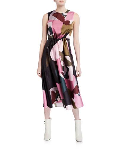 Block-Print Elasticized Waist Sleeveless Midi Dress