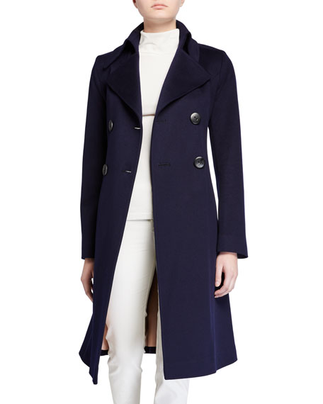 Image 2 of 3: Fleurette Notch-Collar Double-Breasted Wool Coat