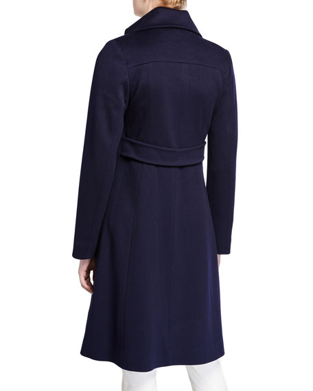 Image 3 of 3: Fleurette Notch-Collar Double-Breasted Wool Coat