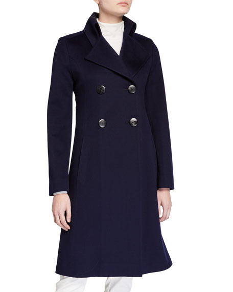 Image 1 of 3: Fleurette Notch-Collar Double-Breasted Wool Coat