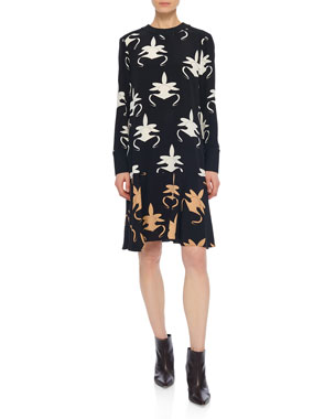 f2f2ad4d1b Tibi Ghost Orchid Printed Drop-Waist Dress