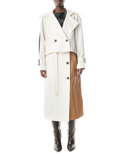 Colorblock Double-Breasted Trench Coat