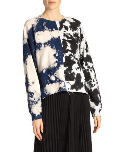 Cropped Tie-Dye Jersey Sweatshirt