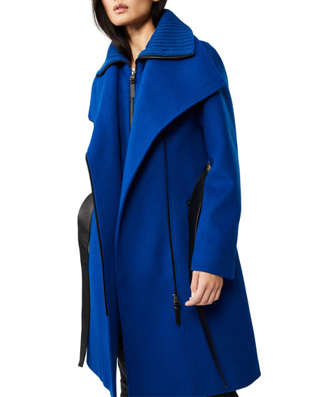 Mackage Nori Midi Asymmetric-Zip Wrap Coat