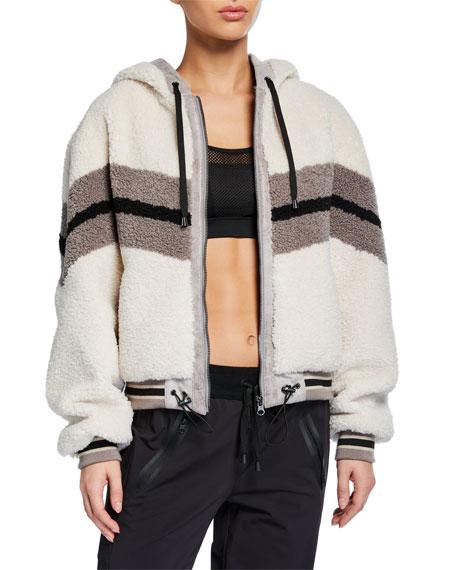 Blanc Noir Faux-Fur Cropped Hoodie