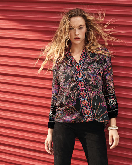 Johnny Was Printed Blouse with Front Embroidery & Velvet Trim