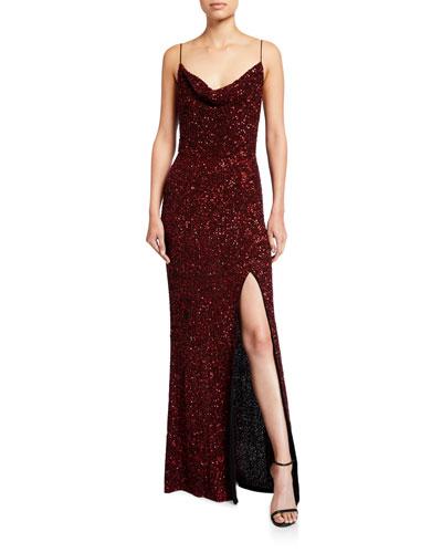Diana Embellished Cowl-Neck High-Slit Gown