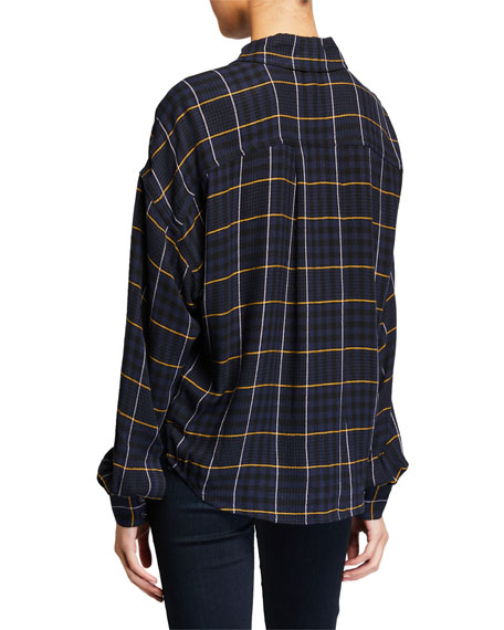 Image 2 of 2: Derek Lam 10 Crosby Plaid Button-Down Long-Sleeve Shirt