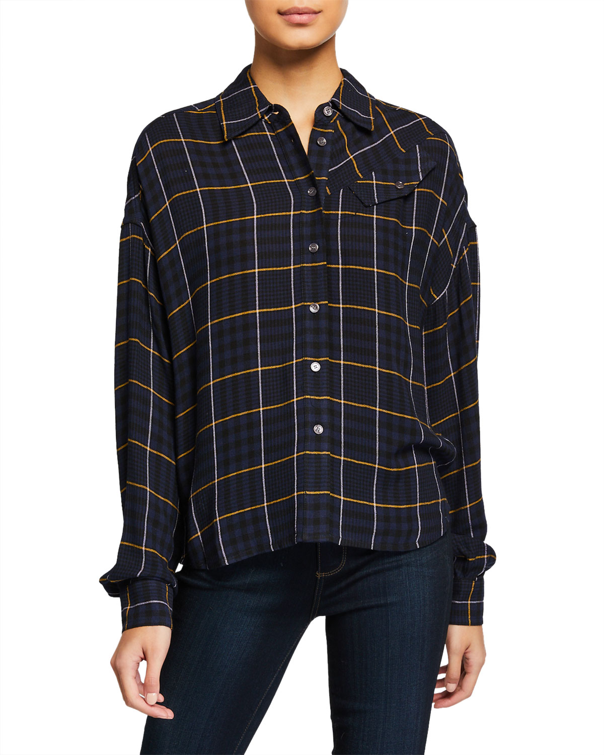 Derek Lam 10 Crosby Plaid Button-Down Long-Sleeve Shirt