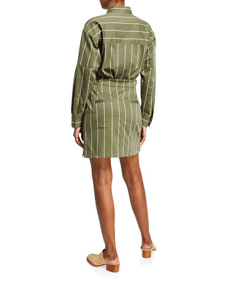 Image 2 of 2: Derek Lam 10 Crosby Striped Sateen Utility Wrap Shift Dress