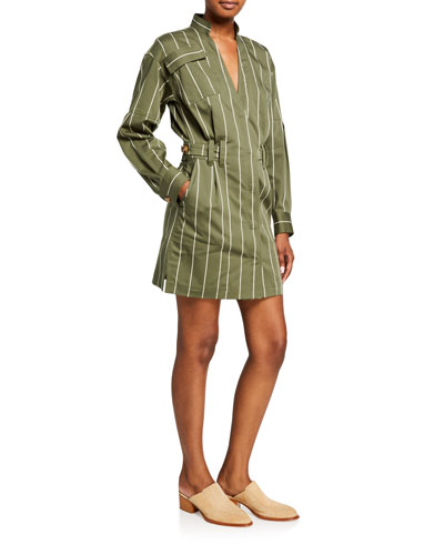 Striped Sateen Utility Wrap Shift Dress