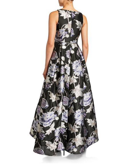 Aidan Mattox Floral Brocade V-Neck Sleeveless Ball Gown