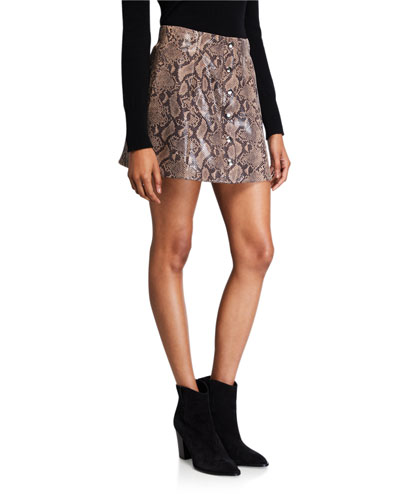 Come Slither Python-Print Button-Front Skirt