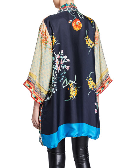 Johnny Was Abril Reversible Embroidered Edge Kimono