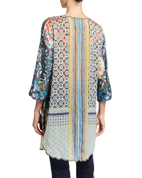 Johnny Was Plus Size Margery Printed 3/4-Sleeve Scallop Edge Tunic