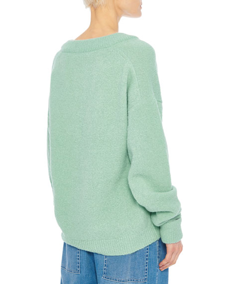 Tibi Airy Alpaca V-Neck Pullover with Arm Band Cuffs