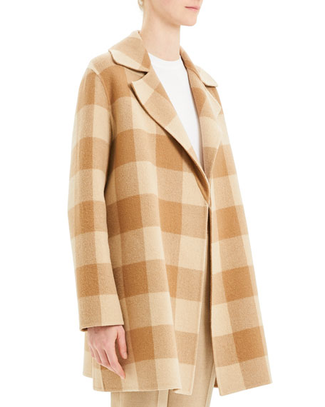 Theory Overlay Double-Face Check Coat